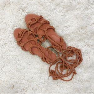 Joie Caesar Suede Lace Up Espadrille Sandals
